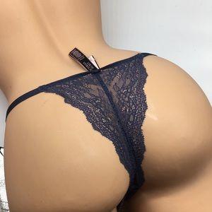 L Victoria's Secret Sexy Thong Panty Lace Slate